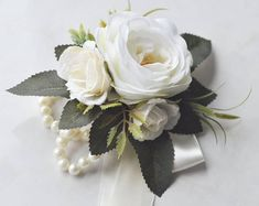 Rose Bouquet Discover Wedding bouquet white and cream roses - bridal bouquet - boho wedding - artificial bouquet - willow bouquet - boho bouquet - wedding flowers Wrist Corsage Wedding, Boho Wedding Bouquet, Rose Bridal Bouquet, White Wedding Bouquets, Bridal Bouquets, White Corsage, Rose Corsage, Corsage And Boutonniere, Diy Mother's Day Corsage