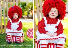 RESERVED FOR KERI - baby hat, Raggedy Ann wig for baby girl, Halloween costume. $50.00 USD, via Etsy.