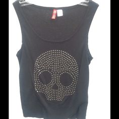 Black tank top with do skull size S This is a tank top size small . Skull on front . Metal look.  This is a sweater type. Will stretch . Never worn no tags Tops Tank Tops