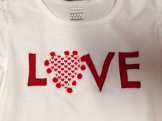 """Love"""" Valentines Day shirt, heart, red, kids Valentine clothes on Etsy, $14.00"""