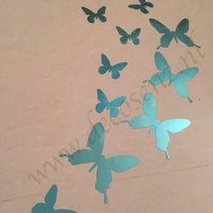 3d vlinders glans blauw wanddecoratie