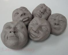 clay face sculpting easy project http://www.lakesidepottery.com/Pages/Pictures/Handbuilding-projects-ideas-pictures.html