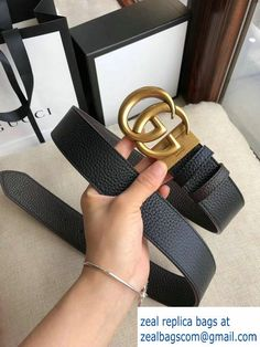 Gucci 3.8cm Wide grained Leather Belt With gold gg buckle 02