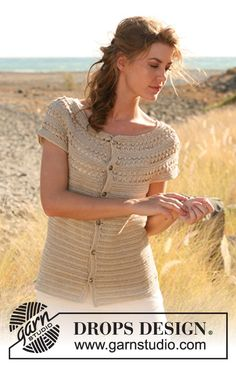 """Hayfield Beauty - Crochet DROPS short sleeved jacket with lace pattern and round yoke in """"Cotton Viscose"""". The piece is worked top down. Size: S - XXXL. - Free pattern by DROPS Design Cardigan Au Crochet, Gilet Crochet, Crochet Coat, Crochet Jacket, Crochet Cardigan, Crochet Shawl, Crochet Clothes, Crochet Sweaters, Moda Crochet"""
