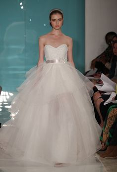 pink reem acra wedding dress