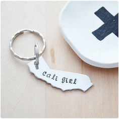 Cali Girl Keychain by HerSilverLining on Etsy.com
