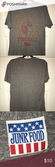 d7aa811cc92 Junk Food San Francisco 49ers tee shirt NFL jersey Vintage San Francisco  49ers Football unisex t