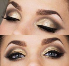 Mezcla dorado + café y obten un hermoso maquillaje de ojos, ideal para día o noche. Busca más paso a paso en http://www.1001consejos.com/belleza