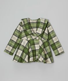Green Plaid Peter Pan Collar Peacoat - Infant, Toddler & Girls by Kid Fashion #zulily #zulilyfinds