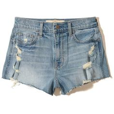Hollister High-Rise Denim Vintage Shorts (£36) ❤ liked on Polyvore featuring shorts, ripped light wash, high waisted destroyed shorts, high waisted denim shorts, high-waisted denim shorts, vintage shorts and distressed high waisted shorts