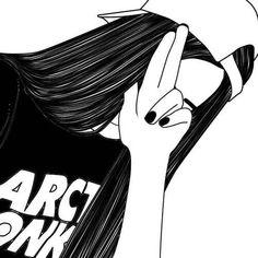 art, noir, dessin, fille, grunge, musique, ongles, pacification, agréable, Tumblr, blanc