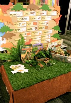 Dinosaur Provocation with Word Wall (from Early Life Foundations) Dinosaurs Preschool, Dinosaur Activities, Dinosaur Crafts, Preschool Science, Preschool Classroom, Dinosaur Classroom, Kindergarten, Classroom Ideas, Play Based Learning