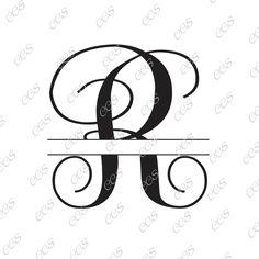 Digital Cut File, Split Vine Letters - Letter R,  R, Split R,  Monogram, Vinyl…