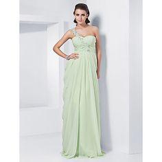 plášť / sloupec jedno rameno miláček podlahy Délka šifónové večerní / plesové šaty – USD $ 98.99