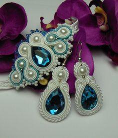 Crystal earrings soutache bracelet AQUAMARINE from Soutacheria by DaWanda.com