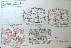struzzle zentangle tutorial by fairytwine Tangle Doodle, Tangle Art, Zen Doodle, Doodle Art, Zentangle Drawings, Doodles Zentangles, Doodle Drawings, Doodle Patterns, Zentangle Patterns
