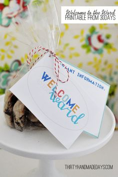 Welcome to the Ward/Church printable from @30days. Drop it off w/a treat & make new people feel welcome!