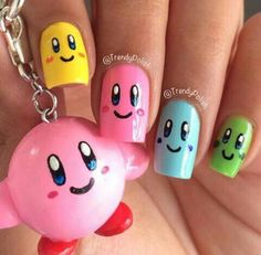 Made a KIRBY polymer clay charm and nails to match Cute Nail Art, Cute Nails, Pretty Nails, Girls Nail Designs, Cute Nail Designs, Spring Nails, Summer Nails, Diy Nails, Manicure