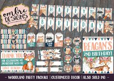 Decorate your Girl Woodland Birthday Party with Printable Party Decor! This package will be customized with Name + Age and you will be sent a download folder to simply print as many as you need! ➼ YOU WILL RECEIVE: · 1x PDF Banner: Customized with Name + Age. Pennants approx. 5x7 ea. · 8x10 Birthday Sign: Customized with Name + Age. · 4x6 Thank You Card: Customized with Name. · 2.25 Cupcake Toppers, 12 per page · Favor Tags, 4 Designs, 12 per page · Water Bottle Labels, 4 designs/per page…