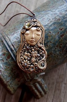 Goddess Polymer Clay Shimmer Pendant Necklace by TRaewyn on Etsy