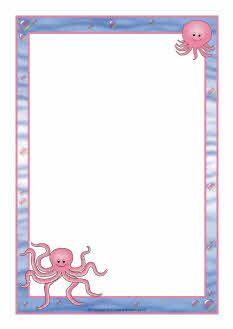 Octopus A4 page borders (SB7449) - SparkleBox