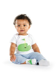 """3 piece boy's pant set is sure to knock your socks off so, we included a pair of """"flag on the green"""" socks for the new little pro in this set"""