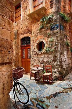 'Beautiful corner in Chania - Crete' by Hercules Milas Nail Salon Design, Crete Greece, Dress Shirts For Women, Hercules, Beautiful Islands, Greek Islands, Old Town, Travel Mug, Decorative Throw Pillows
