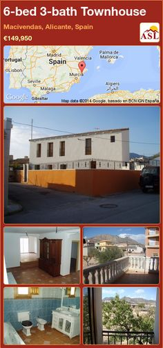 Townhouse for Sale in Macivendas, Alicante, Spain with 6 bedrooms, 3 bathrooms - A Spanish Life Murcia, Valencia, Alicante Spain, Bed And Breakfast, Townhouse, Restoration, Home And Family, Spanish, Floor Plans