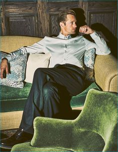 Allan Kennedy outfits Alexander Skarsgård in a Versace shirt with trousers and shoes by Ermenegildo Zegna Couture.