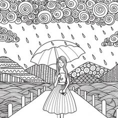 Zen Tangle Umbrella-Psalm Coloring Page-You Have Turned My Mourning-Inspirational Coloring Page for Adults-Adult Coloring by BaciaBellaDesign on Etsy Doodle Art Drawing, Zentangle Drawings, Mandala Drawing, Zentangles, Girly Drawings, Art Drawings For Kids, Art Drawings Sketches, Psalm 30, Doddle Art