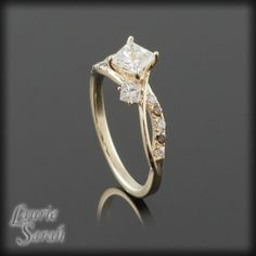 Princess Cut Diamond Engagement Ring with Chocolate colored Diamonds