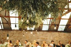 LETTUCE & CO - STYLE. EAT. PLAY 'matt + emma - wedding in at the mountains'. country barn wedding. rustic. hanging installation. floral installation. hanging foliage. australian natives. edisson bulb drop lighting. concept, design and styling by lettuce & co
