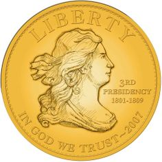 Us Gold Coins   Thomas Jefferson's First Spouse Gold Coin Obverse - artist rendering
