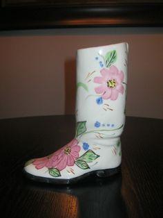 Blue Ridge pottery floral boot picclick.com