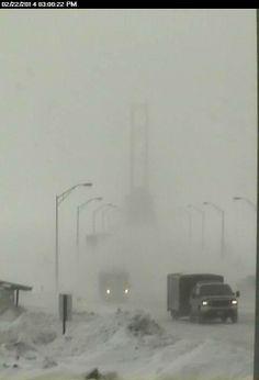 Mackinac Bridge, 2/22/14  A winter wonderland! Love being in the U.P in the snow, very Romantic <3 !
