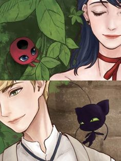 Marinette and Adrien, Tikki and Plagg (Miraculous Ladybug)
