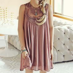 Lace Gypsy Dress in Taupe...
