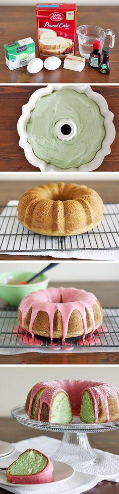 Pistachio Cake with Cherry Icing