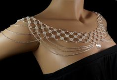 Silver Czech glass + pearl off the shoulder beaded necklace. silver pearl shoulder necklace. silver body jewelry. bridal shoulder necklace