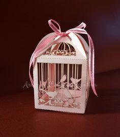 """Caja calada modelo """"jaulita"""" para souvenir, cupcake - Corte láser   Laser cut cage box"""