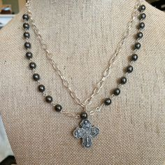 Hematite & Four Way Cross Necklace,  $67.95. 4-way cross and Czech hematite bead double-strand Catholic medal necklace.