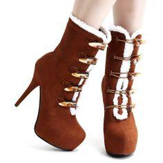 Russet Suede Fur High Heel Military Winter Fashion Snow Boots Women SKU-143353