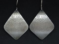 This is a unique antique bohemian earrings for you or your beloved! Beautiful etched mandala earrings almost long with handmade hook of silver wire! Idea: Be the gypsy queen! Tribal Earrings, Dangle Earrings, Sterling Silver Earrings, Gypsy, Ethnic, Dangles, Mandala, Bohemian, Trending Outfits