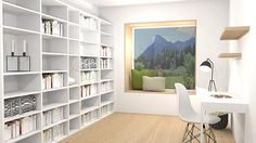 Visualisierung Wohnhaus Decor, Shelves, Home, Shelving Unit, Corner Bookcase, Shelving