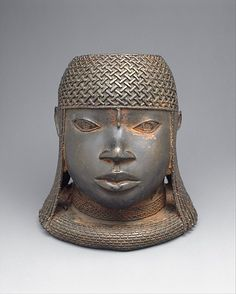 Head of an Oba, 16th century (ca. 1550), Nigeria, Edo peoples, court of Benin, Brass, 23.5 cm | The Metropolitan Museum of Art