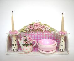 1/12TH scale - shabby chic kitchen shelf in pink by Lory
