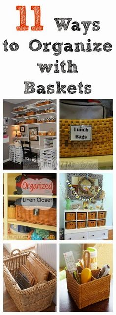 I love baskets! They are inexpensive and come in all kinds of sizes for organizing. I've come up with 11 great ways to organize with baskets, but honestly, there are a lot more ways! Here are my favor
