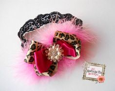 Baby Girl Leopard and pink double bow headband, ,Baby Headbands.Girl Headbands.. $16.90, via Etsy.