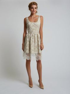 Katie Fong Spring 2014 Collection ◦ The Claire Dress: champagne novelty gathered dress // katiefong.com