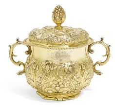 A Charles II silver-gilt porringer and cover, maker's mark only on body and cover, Wolfgang Howser, (London), circa 1670 | Lot | Sotheby's